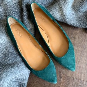 J. Crew Forest Green Amelia Suede Flats Size 9.5